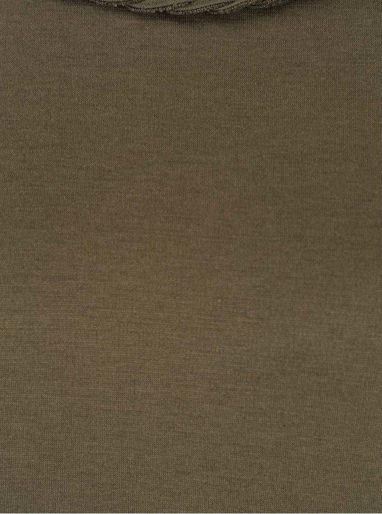 Khaki šaty s ozdobným lemem VILA Braide