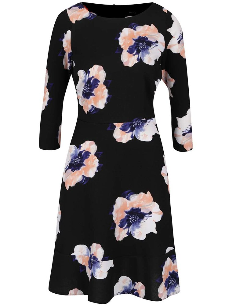 Černé květované šaty s 3/4 rukávem M&Co
