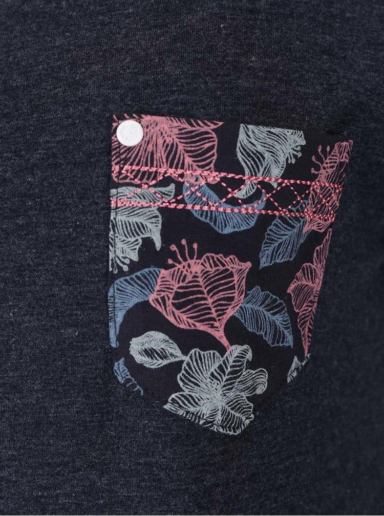 Bluza gri inchis Ragwear Ciel cu detalii cu model floral