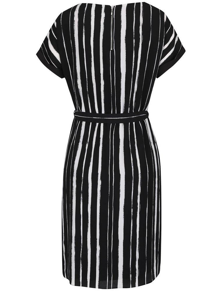 Rochie alb fildeș&negru M&Co cu model în dungi și cordon în talie