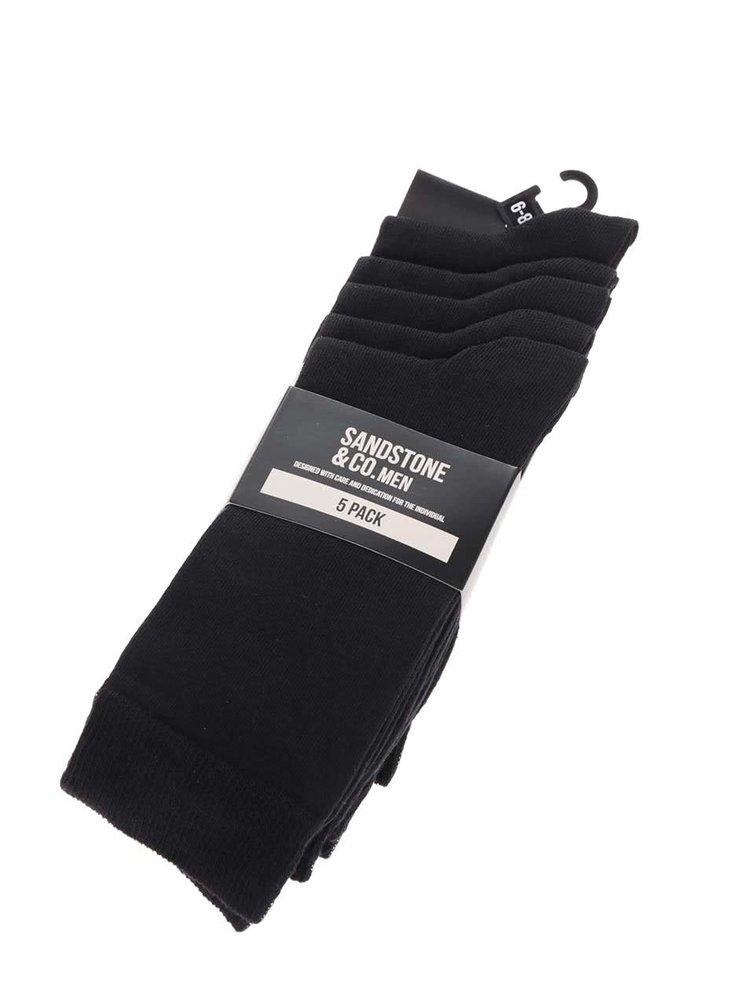 Sada pěti párů pánských ponožek v černé barvě M&Co