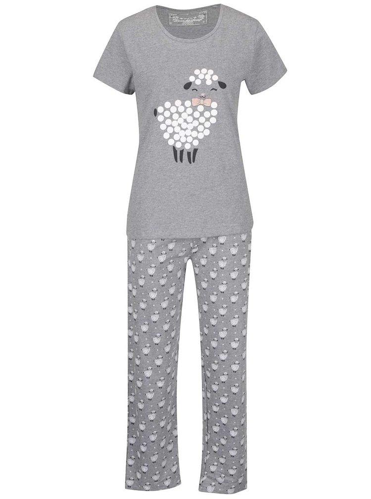 Šedé dámské pyžamo s potiskem M&Co