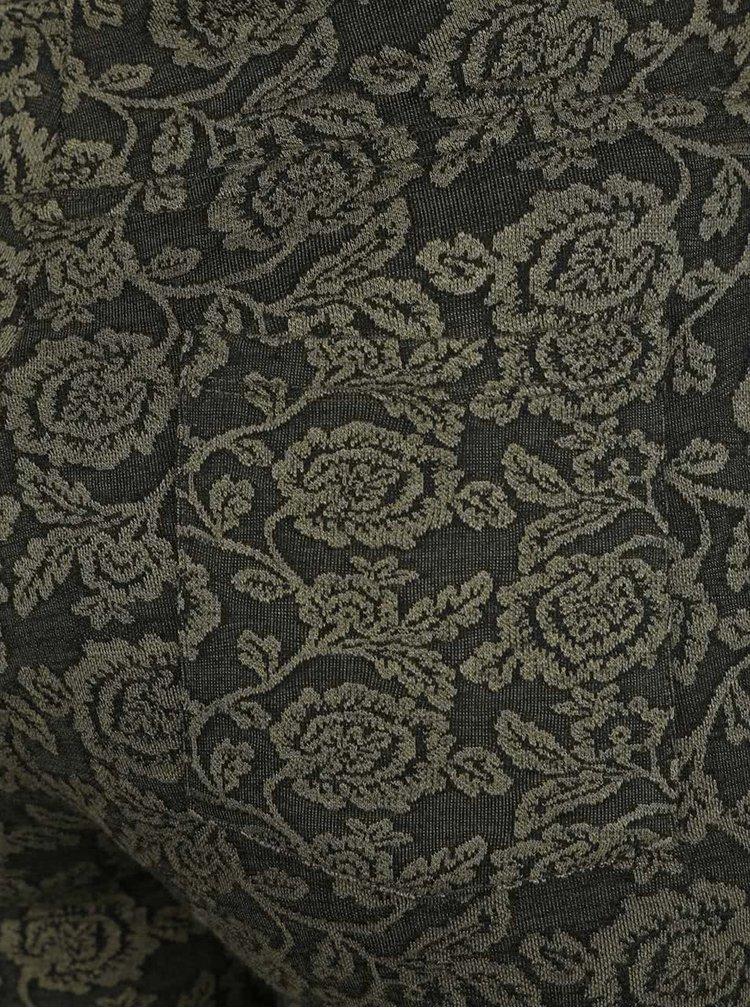Khaki dámské květované legíny M&Co