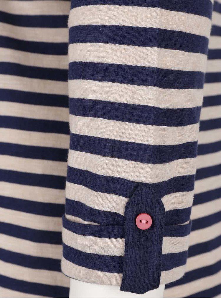 Bluză crem&bleumarin în dungi M&Co cu guler tunică