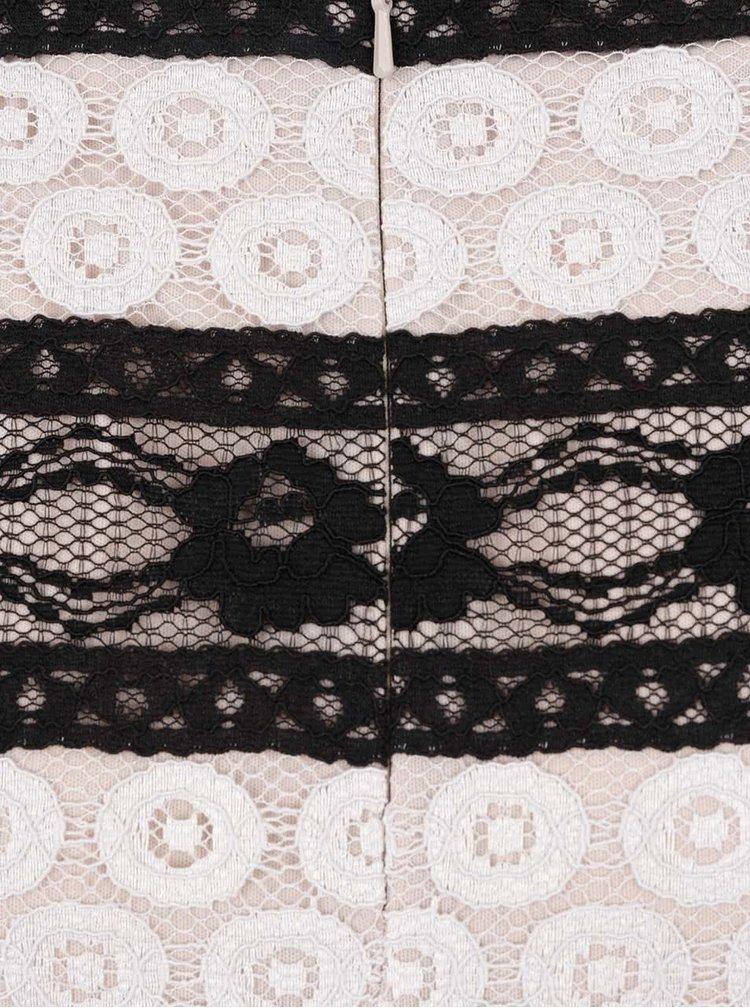 Krémovo-černá krajková sukně M&Co