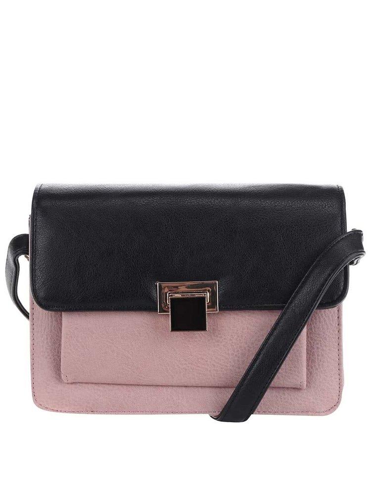 Růžovo-černá crossbody kabelka M&Co