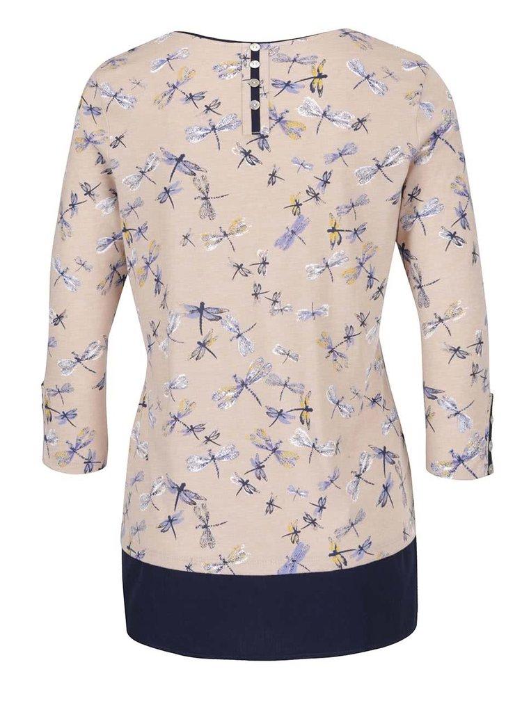 Bluza bej & albastru M&Co cu model si maneci trei sferturi