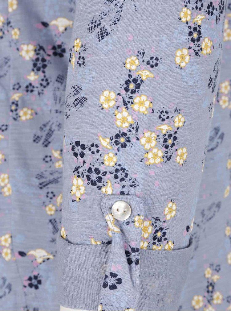 Modré dámské květované tričko s 3/4 rukávem M&Co