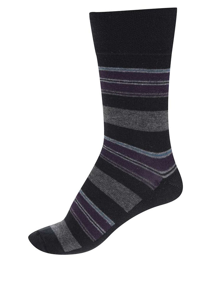 Sada tří párů pruhovaných pánských ponožek v černé a hnědé barvě M&Co