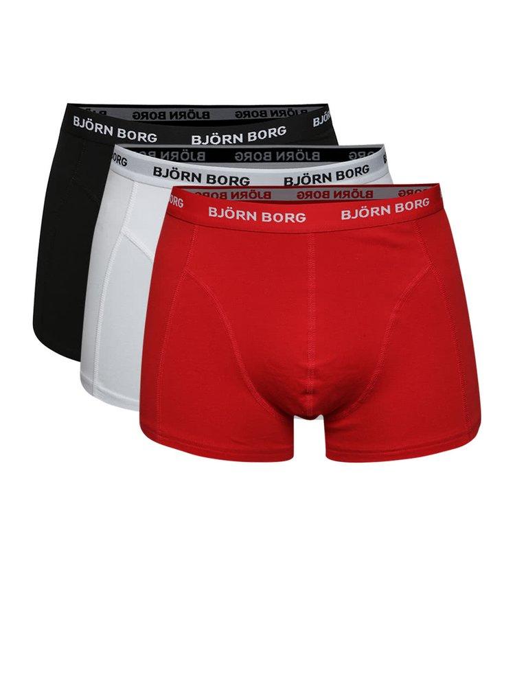 Sada tří boxerek v černé, bílé a červené barvě  Björn Borg