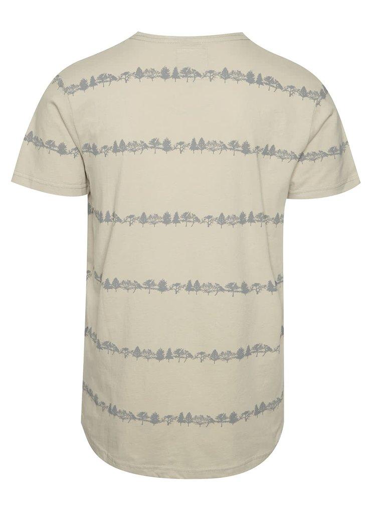 Tricou bej Ragwear Trick organic regular fit din bumbac cu print