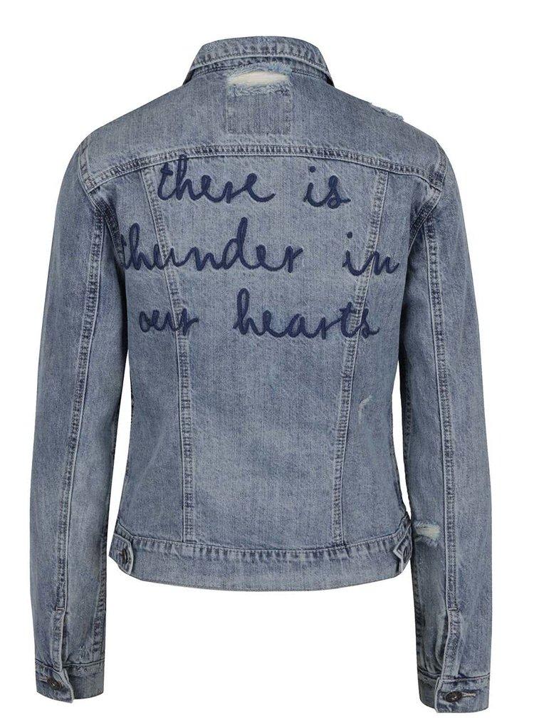Světle modrá džínová bunda s výšivkou na zádech Only Chris