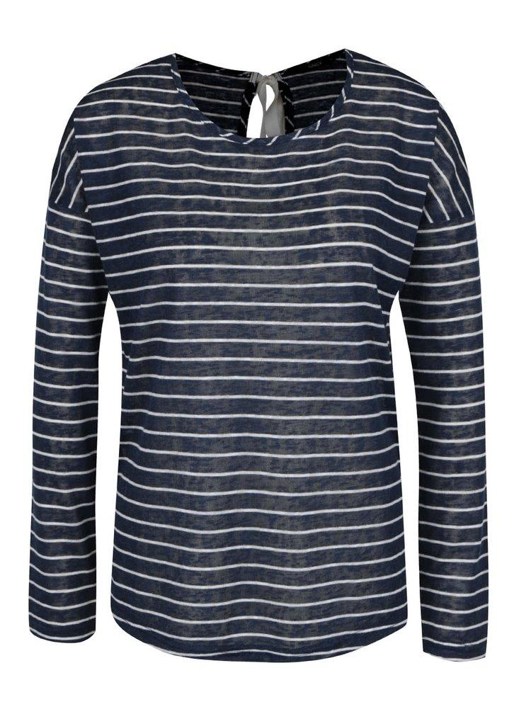 Bílo-modré pruhované tričko se zavazováním na zádech Only Marina