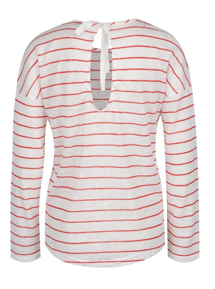 Červeno-bílé pruhované tričko se zavazováním na zádech Only Marina