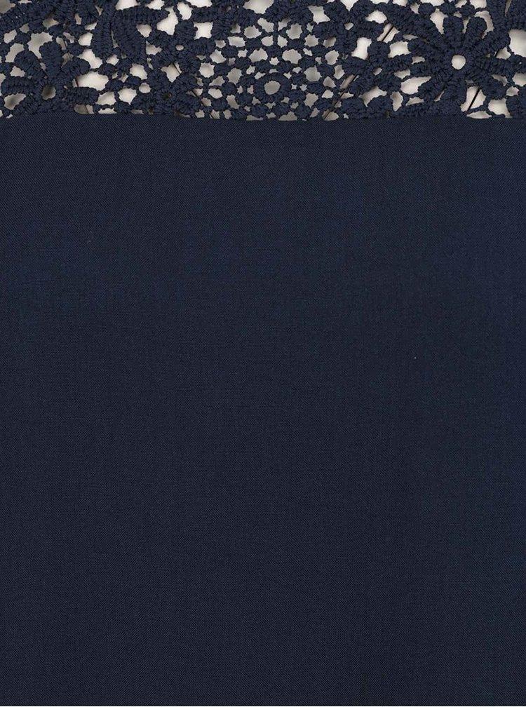Tmavě modrá volná halenka s krajkou v dekoltu Only New Wonder