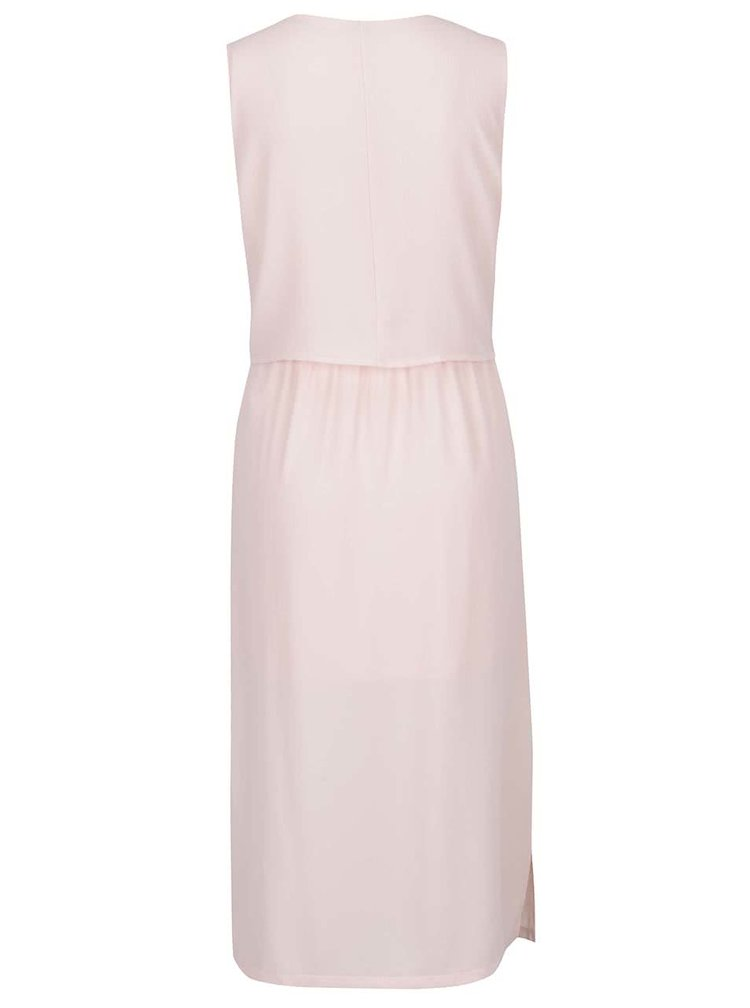 Rochie lungă roz pal VERO MODA Zen cu model petrecut