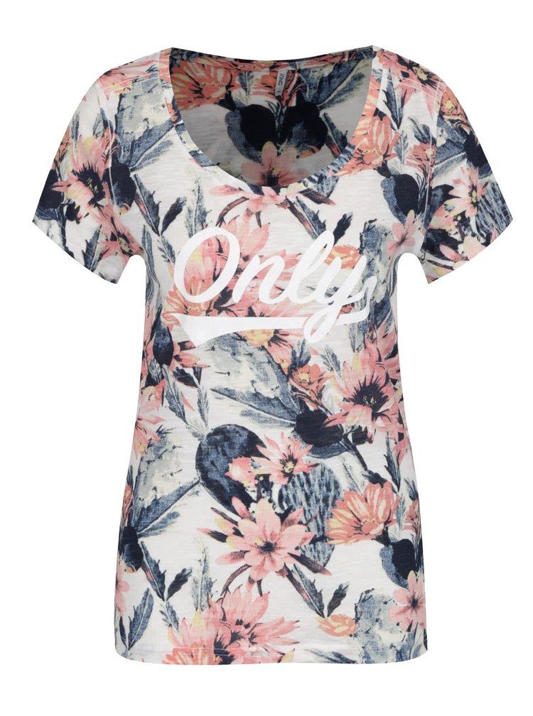 Růžovo-krémové květované tričko Only Tessa