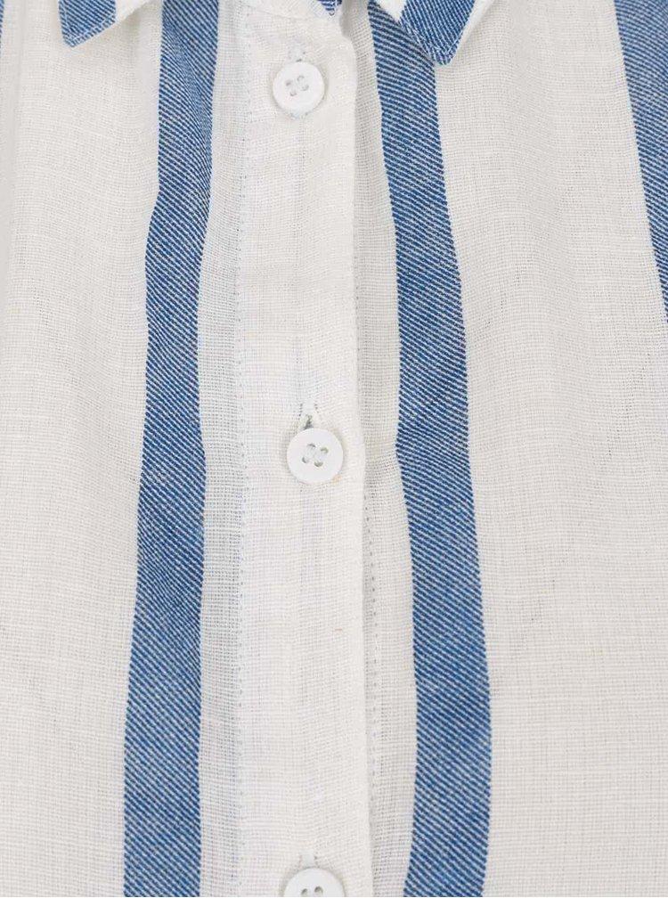Modro-krémová pruhovaná košile s příměsí lnu VERO MODA Stripy