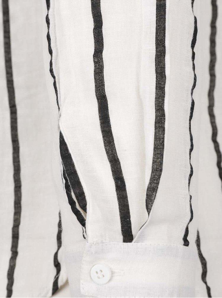 Čierno-krémová pruhovaná košeľa s prímesou ľanu VERO MODA Stripy