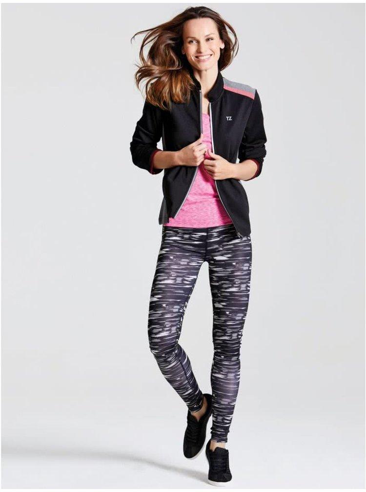 Bluză sport negru & gri M&Co cu guler tunică și print