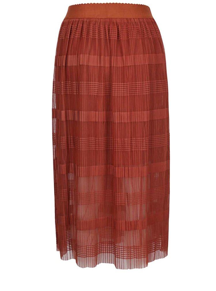 Cihlová plisovaná midi sukně VERO MODA Yade