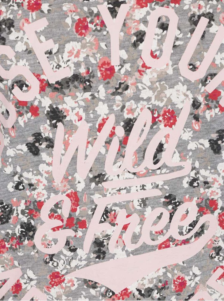 Růžovo-šedé květované tričko Only Tessa