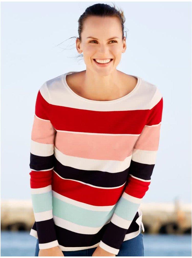 Červeno-krémový dámský pruhovaný svetr M&Co