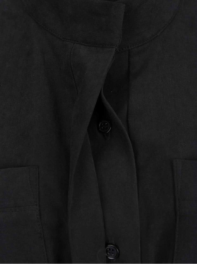 Rochie neagră VERO MODA Nala cu guler la baza gâtului