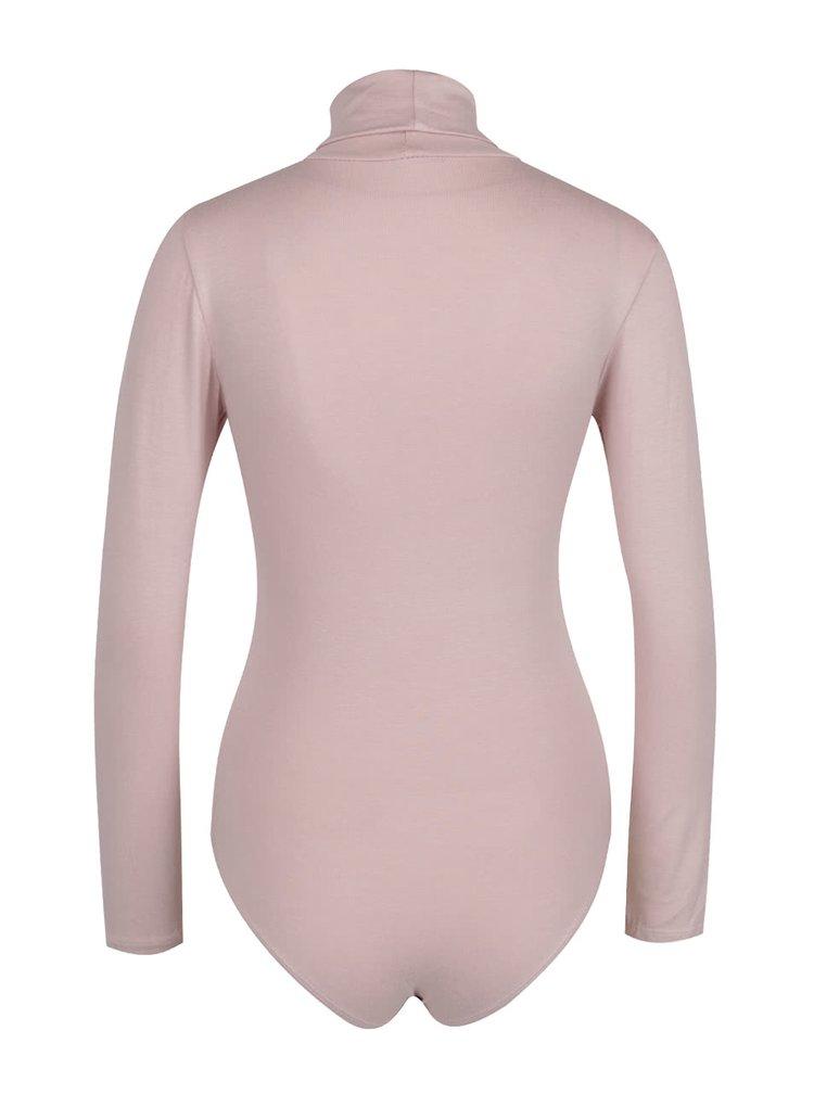 Body roz ZOOT cu mâneci lungi și guler înalt