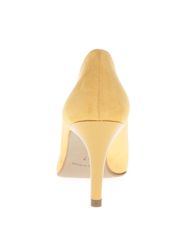 Pantofi galben mustar OJJU cu aspect de piele intoarsa