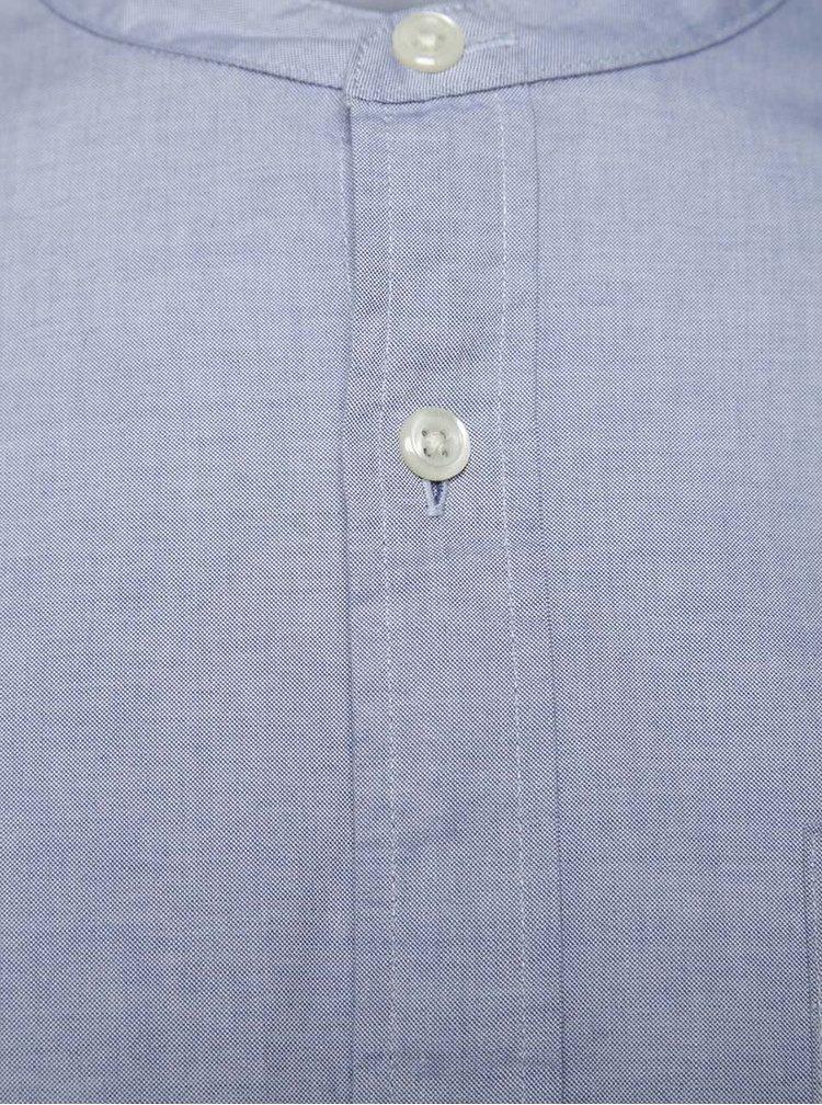 Camasa albastra Jack & Jones Kevin din bumbac cu guler tunica si croi drept