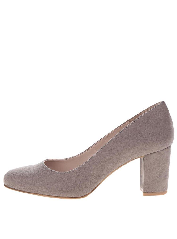 Pantofi maro cu toc OJJU cu aspect de piele întoarsă