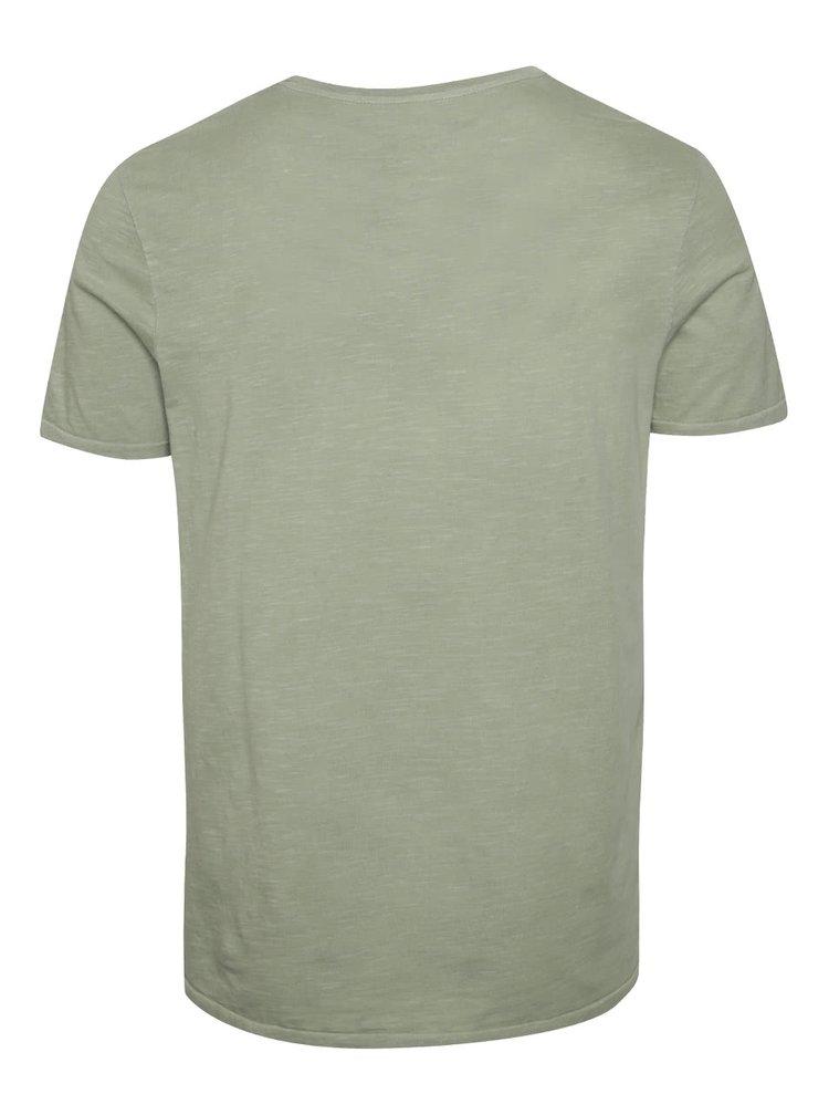 Tricou verde inchis Jack & Jones Lewis din bumbac cu print