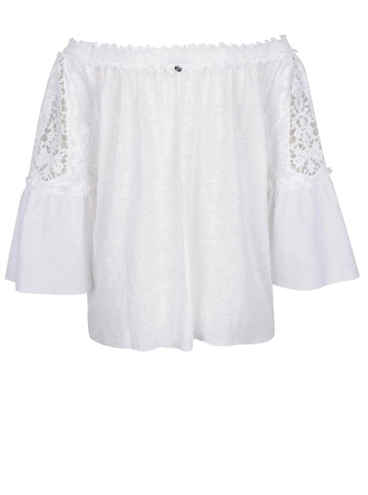 Bílá volná lněná halenka s krajkovými detaily Rich & Royal