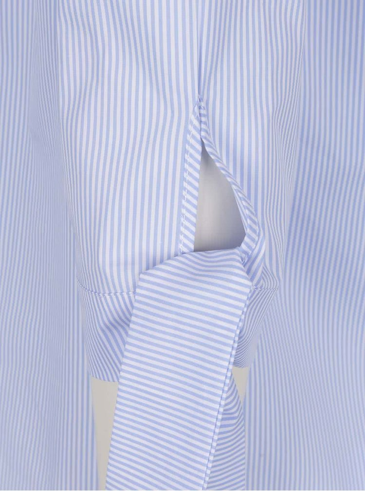 Bluză alb & albastru Rich & Royal din bumbac cu model în dungi și mâneci trei sferturi