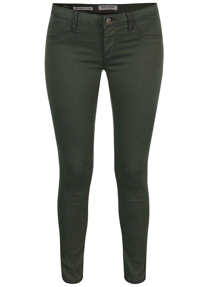 Tmavě zelené skinny džíny TALLY WEiJL