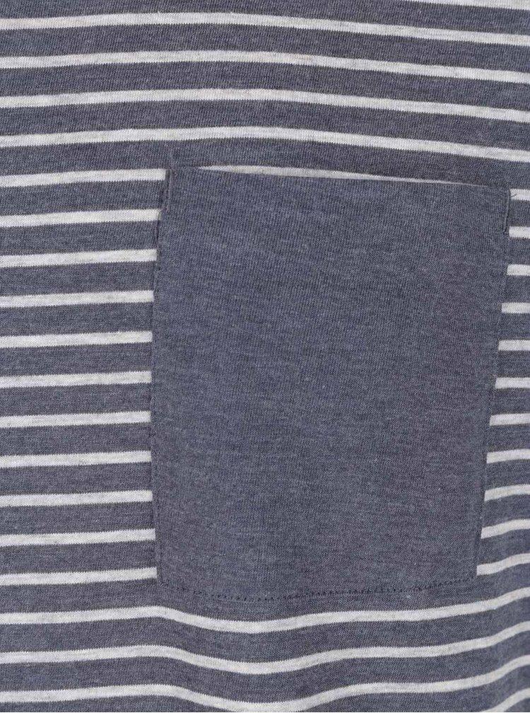 Tricou gri & albastru Selected Homme Irwin in dungi