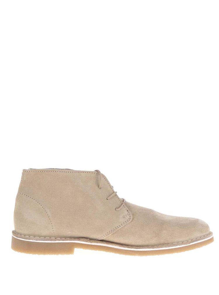 Béžové semišové kotníkové boty Selected Homme Royce
