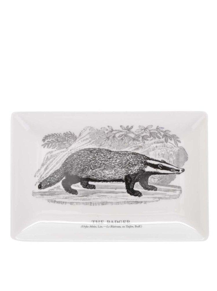 Krémová porcelánová miska s potiskem jezevce Magpie Bewick