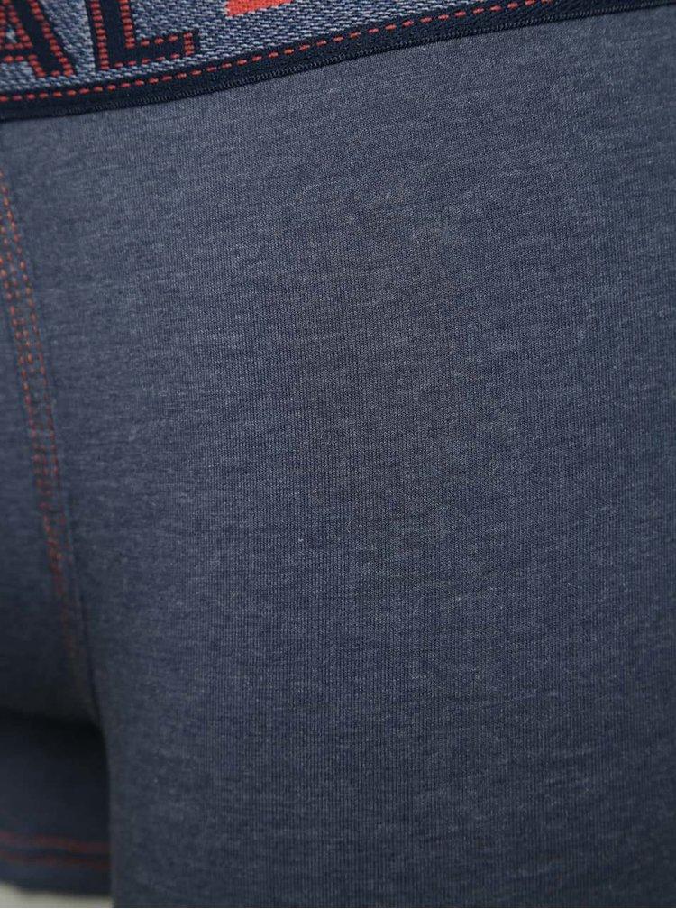 Modré boxerky s obšitými lemy Marginal