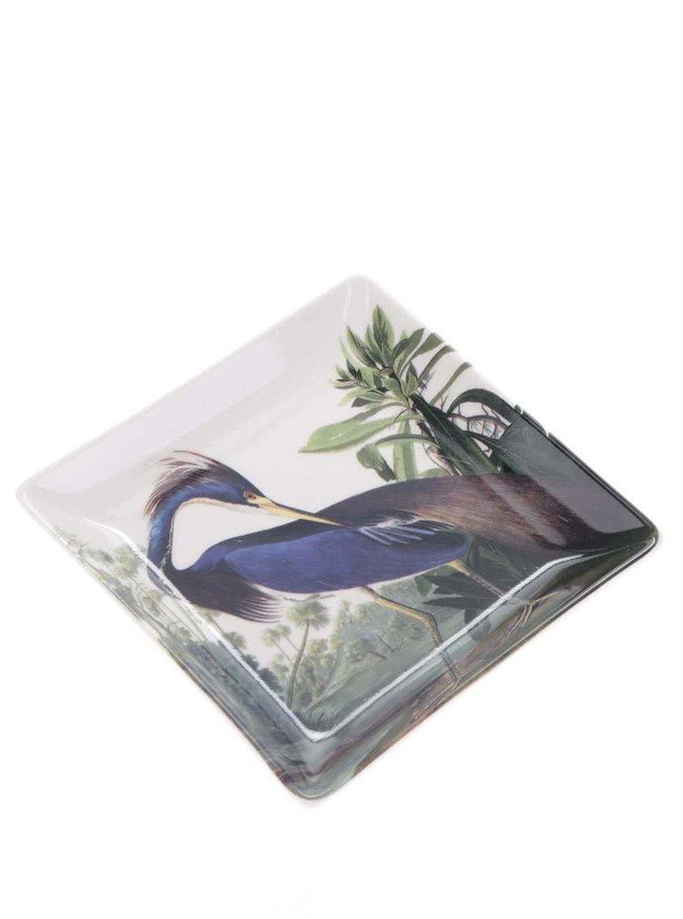 Zeleno-krémová miska s potiskem Magpie Birds