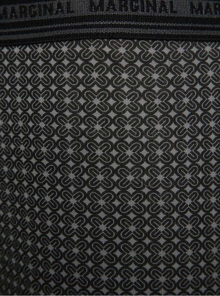 Set 3 boxeri negru & gri Marginal din bumbac cu model