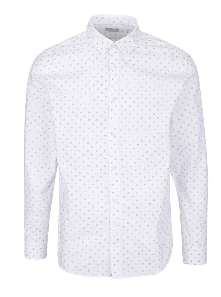 Bílá vzorovaná slim fit košile Selected Homme One Wick