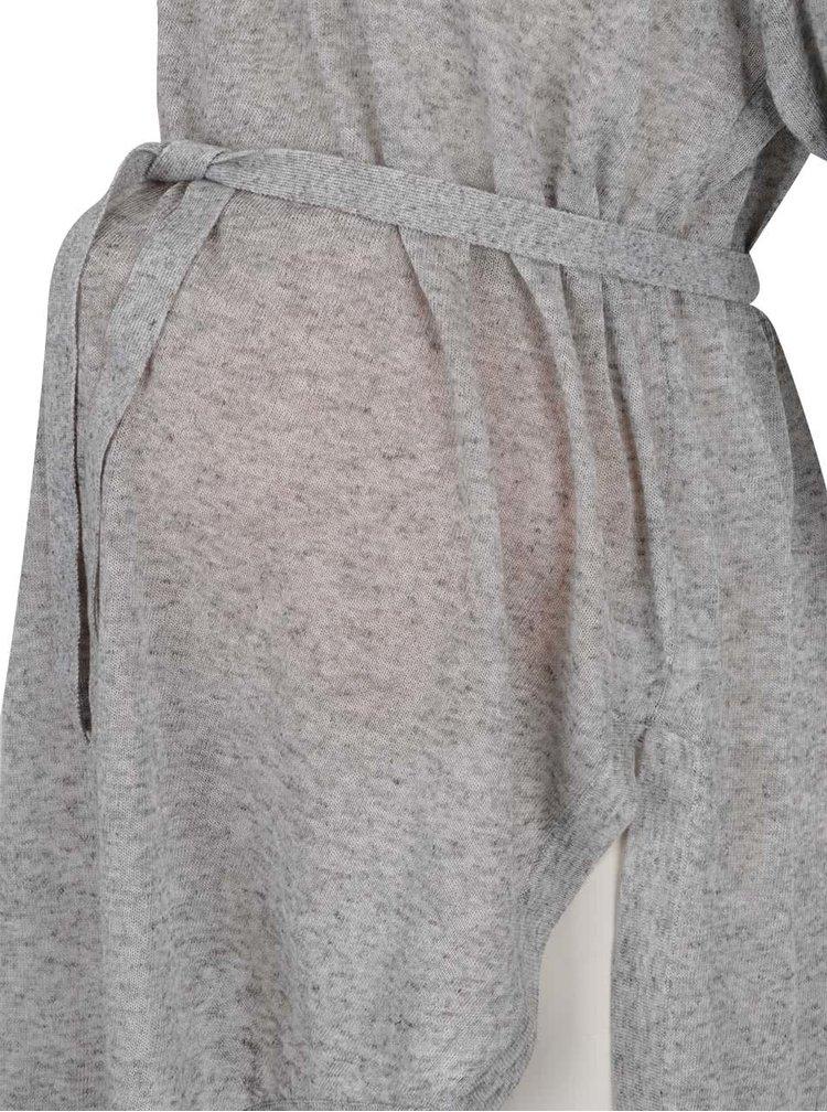 Šedý žíhaný těhotenský volný lehký svetr s příměsí lnu Mama.licious Lotte