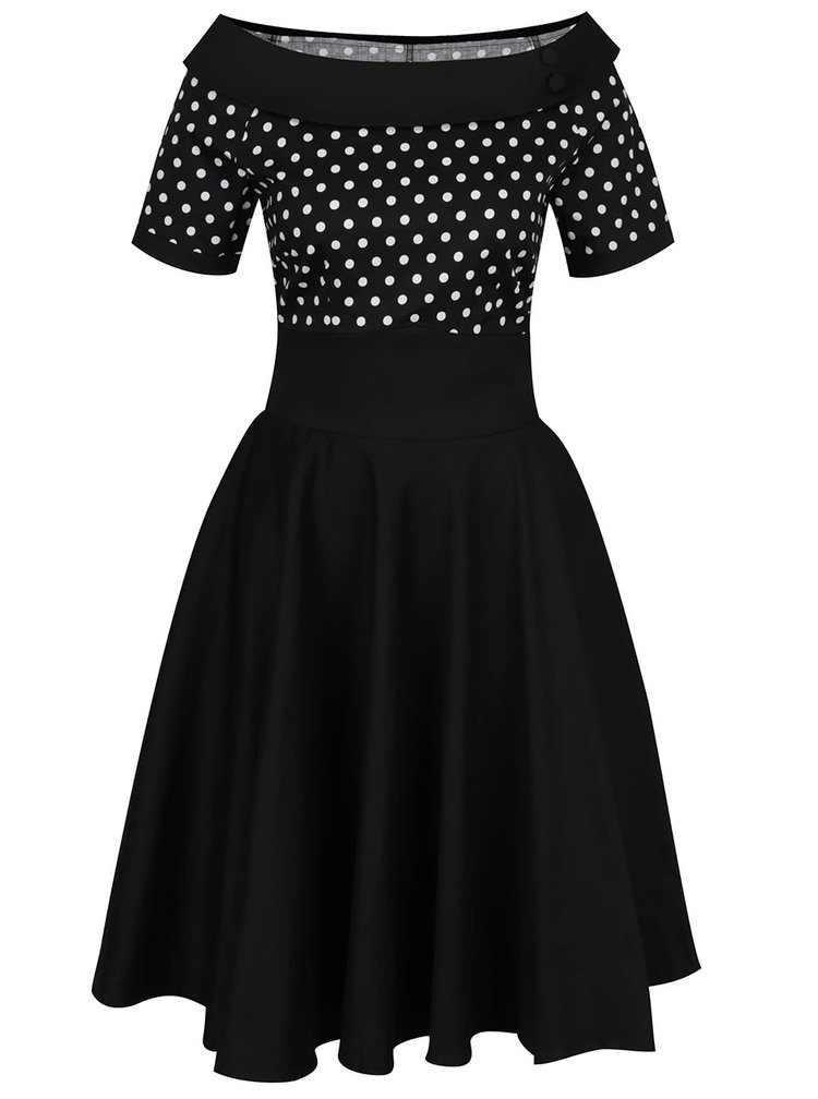 Černé puntíkované šaty Dolly & Dotty Darlene