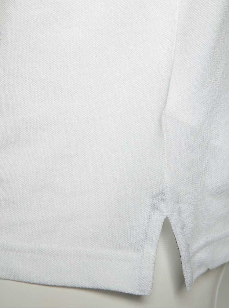 Tricou polo alb bugatti din bumbac cu detalii bleumarin
