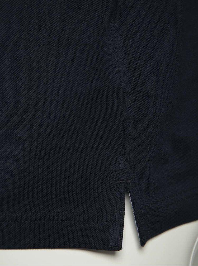 Tricou polo albastru inchis bugatti din bumbac cu detalii gri