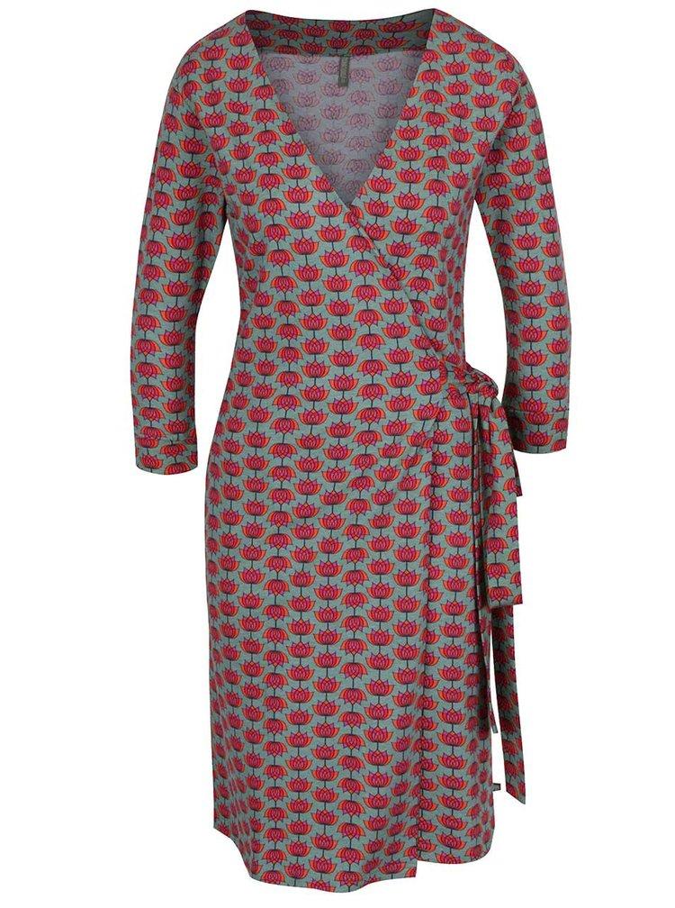 Červeno-zelené vzorované zavinovací šaty Tranquillo Juliane