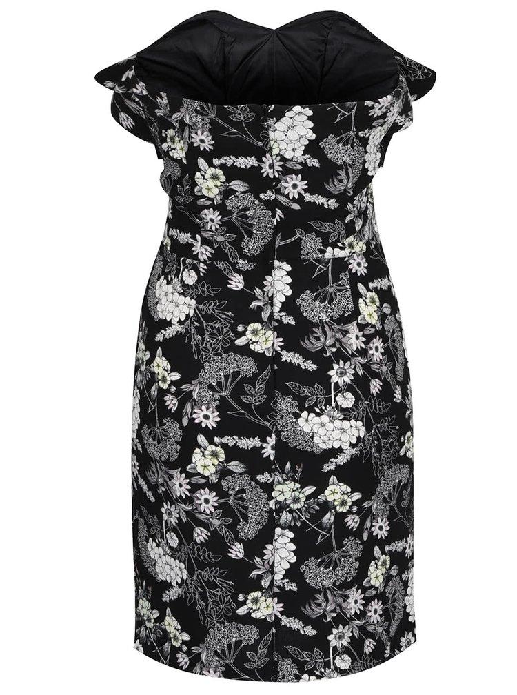 Černé květované šaty bez ramínek Miss Selfridge