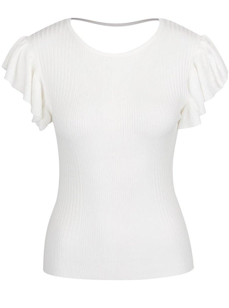 Krémové žebrované tričko Miss Selfridge
